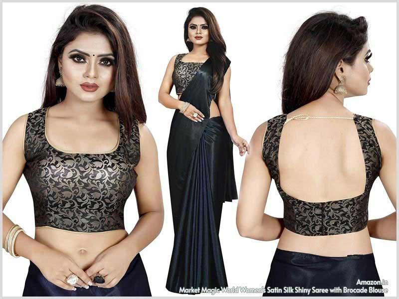 Satin Silk Shiny Saree
